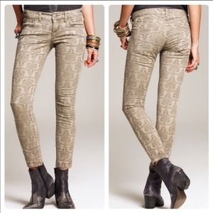 Free People Jacquard Textured Ankle Mid Rise Jeans